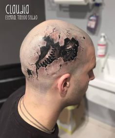 Ripped Skin Awesome Cool 3D Gears Parts Tattoo On Men Head ...
