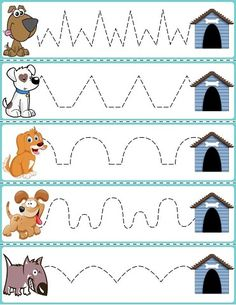 """preschool Trace The Pattern: Dogs & Food Bowls Cards. Help your child develop their pre-writing and fine motor skills with """"Trace the Pattern"""" printable cards. Print these out, cut them up, Farm Animals Preschool, Preschool Writing, Preschool Classroom, Preschool Learning Activities, Preschool Worksheets, Preschool Activities, Shapes Worksheets, Tracing Worksheets, Teaching Kindergarten"""