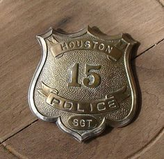 Very old HPD sergeant's badge Houston Police, Police Uniforms, Police Patches, Badges, Airplane, Texas, History, Logos, Classic