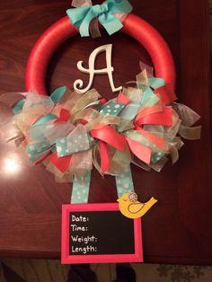 Birth announcement wreath - for the hospital door - cute!