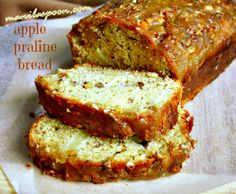 Need some mid-morning or afternoon snack? Scrumptious Apple Praline Bread! Low-fat - no butter or oil is used in the bread batter yet it is so moist and delicious. The big bonus is the lovely praline topping that is nutty, crunchy and truly yummy! #applepralinebread #applebread #sweetbread #fallbread #luvfood