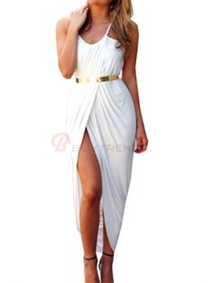 Sexy Pure Color Spaghetti Strap Sleeveless Split Joint Women's Long Dress on buytrends.com