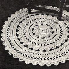 Doily Rug Crochet PDF Pattern 36 in diameter Crochet Doily Rug Pattern – A round rug, 36 inches in diameter, it's a bit of lacy design for your floor decor. Now, how fun it that ? This doily rug pattern is available at Vintage Knit Crochet Pattern Shop Mandala Au Crochet, Crochet Doily Rug, Crochet Rug Patterns, Crochet Borders, Crochet Home, Crochet Crafts, Crochet Projects, Crochet Edgings, Carpet Crochet