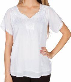 Amazon.com: Sakkas Embroidered 100% Cotton Semi-Sheer Short Sleeve Gauzy Top / Blouse: Clothing