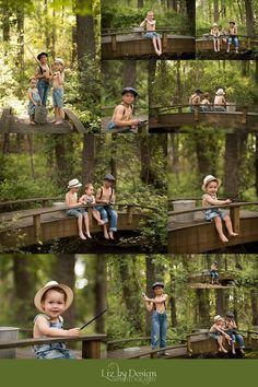 Fishing, small local bridge, Gatsby hat, straw hats, suspenders and denim Toddler Boy Photography, Photography Mini Sessions, Summer Photography, Children Photography, Family Photography, Brother Photography Poses, Photography Studios, Photography Marketing, Photography Backdrops