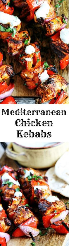 Mediterranean Chicken Kebabs with Garlic Yogurt sauce are packed with flavor. Marinated in Mediterranean spices, garlic and lemon, grilled to perfection and topped with cooling garlic yogurt sauce these chicken skewers are real winners.