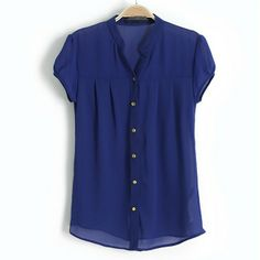 Simple Stand Collar Metal Button Short Sleeve Chiffon Blouse