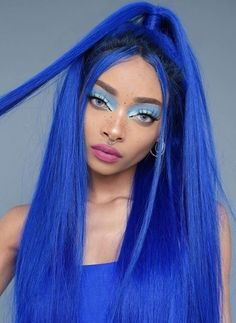 Favourite look? SWIPE ↔️ all hair looks available now 💕 Mint Hair, Neon Hair, Yellow Hair, Purple Hair, Pretty Hairstyles, Wig Hairstyles, Blue Makeup Looks, Blue Wig, Human Wigs