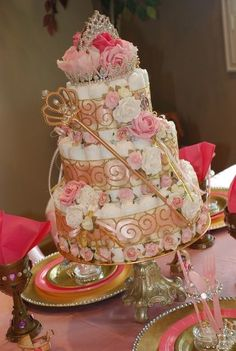 "A princess diaper cake! | Baby Shower/Sip & See ""Little Prince and Princess"" 