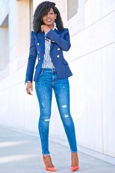DB Navy Blazer + Striped Button Down + Distressed Jeans (Style Pantry) Business Casual Outfits, Classy Outfits, Chic Outfits, Fall Outfits, Fashion Outfits, Fashion Pants, Casual Attire, Casual Jeans, Jeans Style