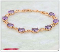 Luxury Sparkling 18K yellow Gold plated Bracelets & bangles Purple Amethyst Cubic Zirconia B072 $8.20