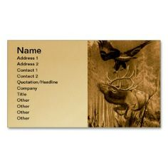 Moose and Eagle Drawing Business Card  printed on a gold colored background.  Other colors available.