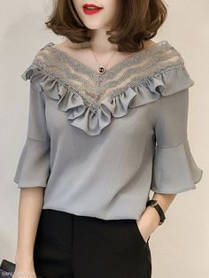 TOPS : Spring Summer Chiffon Women V-Neck Bowknot Decorative Lace Flounce See-Through Plain Bell Sleeve Half Sleeve Blouses Collars For Women, Blouses For Women, Blouse Styles, Blouse Designs, Sewing Blouses, Women's Blouses, Designs For Dresses, Summer Shirts, Summer Blouses