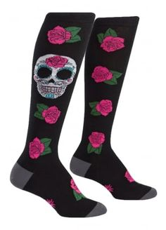 Sock It To Me Sugar Skull Knee High Socks, £8.99