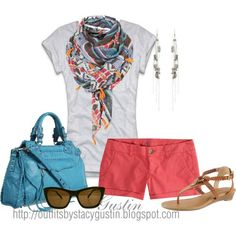Coral shorts, White tee and colorful scarf.