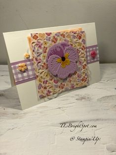 Wink Of Stella, Stampin Up Catalog, Square Card, Stamping Up, Baby Cards, Creative Cards, Pansies, Stampin Up Cards, Note Cards
