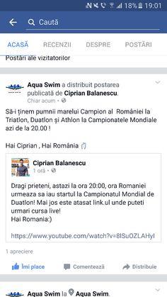 Hai Ciprian ...HAI ROMÂNIA...marele Campion al României are startul la ora 20.00 la Campionatele Mondiale! Campion, Aqua, Water