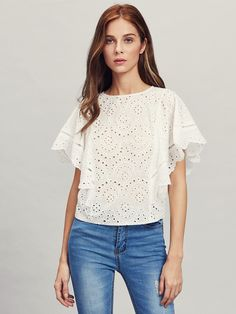 SheIn offers Ladder Lace Insert Cape Sleeve Eyelet Embroidered Top & more to fit your fashionable needs. Designer Blouse Patterns, Blouse Designs, Meghan Markle Dress, Make Me Chic, Sewing Blouses, Kebaya Lace, Fashion Design Sketches, Dressy Tops, Lace Insert