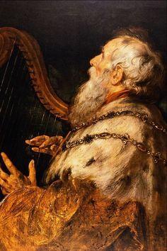 REY DAVID  WITH HARP   Peter Paul Rubens (Siegen, Sacro Imperio Romano Germánico, actual Alemania, 28 de junio de 1577 — Amberes, Flandes (Países Bajos Españoles), fue un pintor barroco de la escuela flamenca. Su estilo exuberante enfatiza el dinamismo, el color y la sensualidad. Sus principales influencias procedieron del arte de la Antigua Grecia, de la Antigua Roma y la pintura renacentista, en especial Leonardo da Vinci, Tiziano y Miguel Ángel, del que admiraba su representación de la…