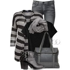 """""""Striped Cardigan"""" by brendariley-1 on Polyvore"""