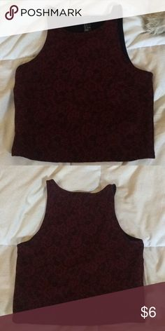 Forever 21 Burgundy Crop top Cute burgundy crop top with floral design. Size small. Make me an offer! Forever 21 Tops Crop Tops