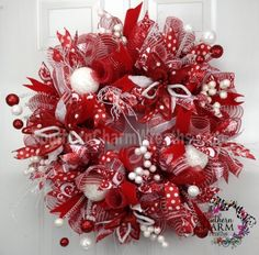 Deco Mesh CHRISTMAS Wreath Red White Poinsettias Polka Dot For Door or Wall by www.southerncharmwreaths.com #decomesh #wreath #christmas