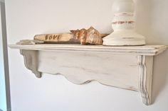 White Shabby Chic Distressed Shelf by ShabbyChicLife on Etsy, $44.00