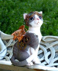 Polymer Clay handmade Steampunk Cat by MysticReflections