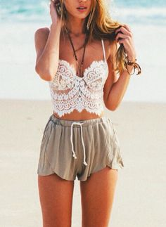 Spaghetti Strap Lace Crochet Cropped Cami Top