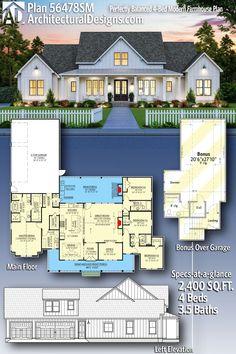 Floor Plan 4 Bedroom, 4 Bedroom House Plans, New House Plans, Dream House Plans, Small House Plans, Dream Houses, 4 Bedroom House Designs, Farmhouse Floor Plans, Home Floor Plans