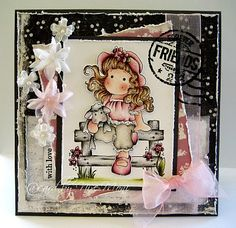 Tilda and her stuffed animal, Butterfly wishes collection, Magnolia stamps
