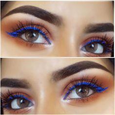 Проверенные способы сделать глаза больше и выразительнее. Всё, что вам понадобится, — пара карандашей, палетка теней, линзы и немного терпения. My Favorite Color, My Favorite Things, Nyx Cosmetics, Color Combinations, All Things, Palette, Make Up, Orange, Blue