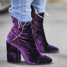 """"""" WE'VE GOT A VELVET CRUSH    Dries Van Noten Purple Ankle Boots    #driesvannoten #maxfield repost @styleaddict (at Maxfield) """""""