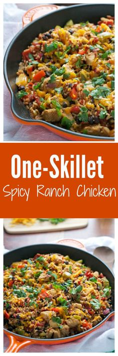 A healthy, easy one-skillet dinner that is ready in 20 minutes flat! With chicken, black beans, and southwest ranch flavor, this recipe is sure to become a fami Healthy Diet Recipes, Healthy Eating, Cooking Recipes, Clean Eating, Cooking Ingredients, Delicious Recipes, Keto Recipes, Healthy Food, One Skillet Meals