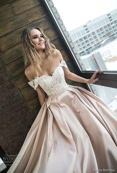 olivia bottega 2018 bridal off the shoulder sweetheart neckline heavily embellished bodice satin skirt romantic a line wedding dress chapel train (10) zv #romanticweddings