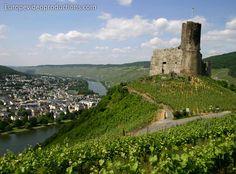 Bernkastel-Kues in Moselle Valley in Germany: Ruins of Landshut Castle