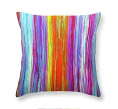 Striped Pillow Cover, Colorful Cushion Cover, Boudoir Throw Pillows, Abstract Accent Pillow, Pastel Stripes Bed Pillow, Printed Pillow by HalfBakedArt on Etsy