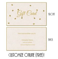 Free printable gift card templates that can be customized online. Instant download. You can add text and/or logo. Free Printable Gift Certificates, Online Gift Certificates, Christmas Gift Certificate Template, Gift Card Template, Free Gift Certificate Template, Printable Gift Cards, Card Templates Printable, Online Gift Cards, Free Gift Cards