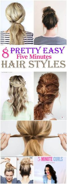 These pretty simple and easy hair styles comes for much use when you are running out of time and you have to get ready in short time. I am glad that I could find these simple hair styles and pinning for regular reference. 5 Minute Hairstyles, Diy Hairstyles, Pretty Hairstyles, Medium Hair Styles, Natural Hair Styles, Short Hair Styles, 5 Minute Curls, Half Up Curls, Hair Hacks