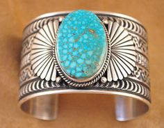 Handmade cuff bracelet, with natural rare Kingman Turquoise, by Navajo artist Sunshine Reeves.