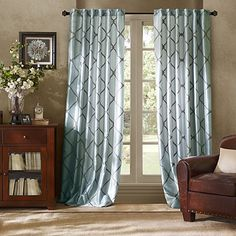 Light blue with Gray Curtain Panel