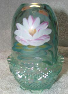 Fenton Iridescent Green Fairy Light Lamp Lotus Blossoms Lily Pad Cat Tails Pond | eBay
