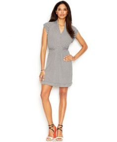 French Connection Cap-Sleeve Surplice-Neck Printed Dress
