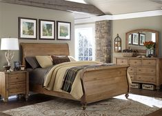 Southern Pines King Bedroom Group by Liberty Furniture at Dream Home Furniture Sleigh Bedroom Set, Wood Bedroom Sets, Bedding Master Bedroom, Bedroom Bed Design, Sleigh Beds, King Bedroom, Home Bedroom, Bedroom Ideas, Master Bedrooms