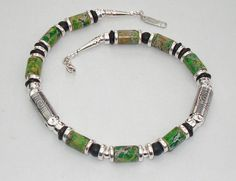 G18 Sterling Silver Green agate & Onyx necklace £260.00