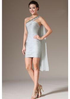 2014 Flowing Silver One Shoulder Beaded Neckline Chiffon Petite Short Formal Dresses - by OKDress UK