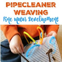 Pipecleaner Weaving with pipecleaners and is fun and preschoolers work on fine motor skills and hand-eye coordination.