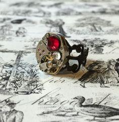 Ruby & Crystal Black Brass Steampunk Ring, Watch Movement Ring, Noir Brass Filigree Ring