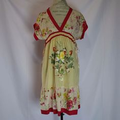 Anthropologie Johnny Was Dress Size XS Embroidered Floral Silk Picnic Casual