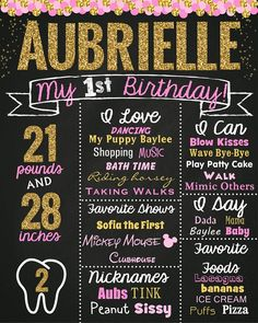 Pink and Gold First Birthday Poster - Contact me via email at aswiney01@yahoo.com or simply click on the image to visit my facebook page to message me. I can design this or any other chalkboard print you want for only $15. Be sure to check out my other designs on my facebook page or on this Pinterest board.